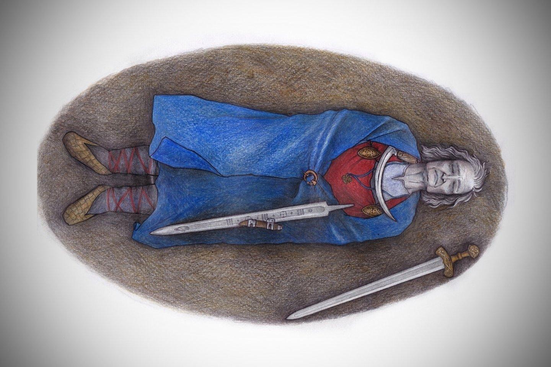 Kelis dešimtmečius buvo manoma, kad maždaug 1000 metų senumo kape pietų Suomijoje buvo palaidota galinga moteris karė. Tačiau dabar mokslininkai teigia, kad iš tikrųjų kape galimai guli biologiškai vyriškos lyties asmuo.<br>Veronikos Paschenko / Suomijos paveldo agentūros iliustr.