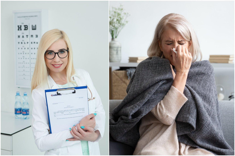 Šeimos gydytoja Kristina Lebedevaitė, gripas.<br>123rf ir pranešimo spaudai nuotr. koliažas