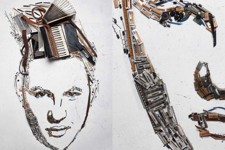 Akordeonisto Martyno Leviskio portretas iš akordeono detalių.<br>Asmeninio archyvo nuotr.