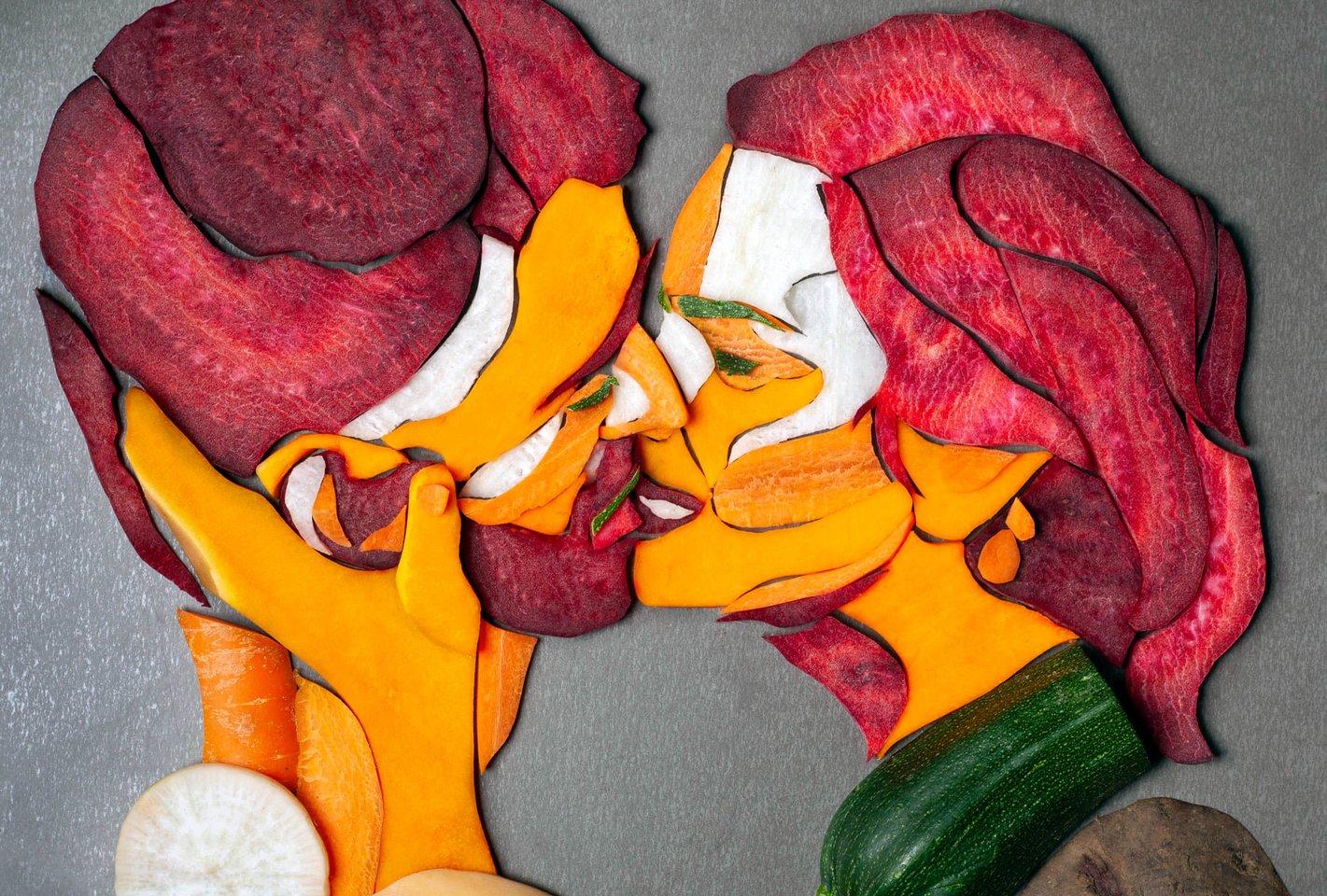 Kompozicija iš ridiko, morkos, sviestinio moliūgo, cukinijos ir burokėlio.<br>Asmeninio archyvo nuotr.