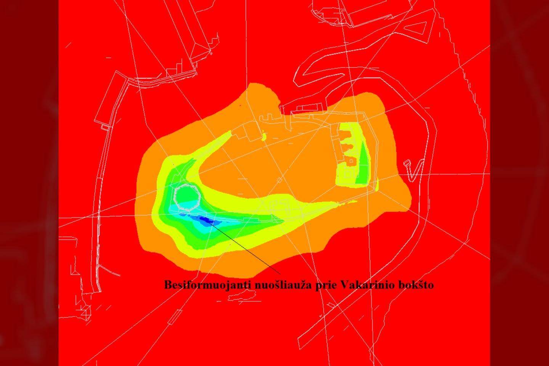 """Besiformuojanti nuošliauža prie Vakarinio bokšto.<br>""""Vilnius Tech"""" /Šarūno Skuodžio iliustr."""