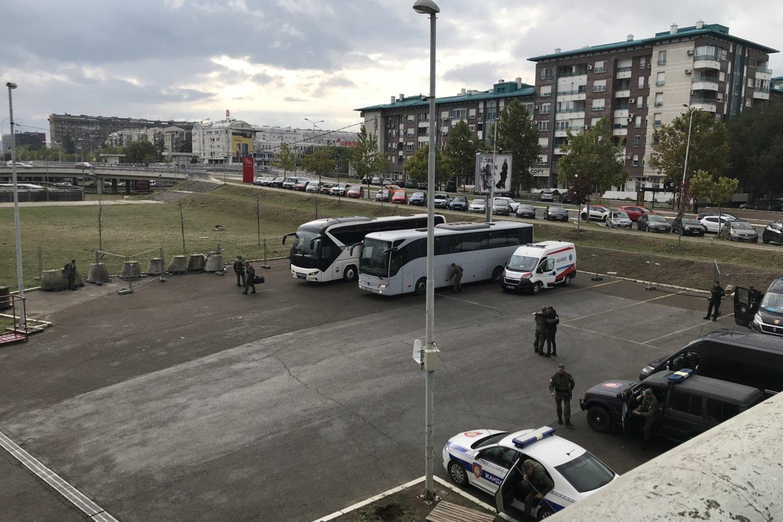 Specialiosios policijos pajėgos ruošiasi dvikovai Belgrade.<br>lrytas.lt nuotr.
