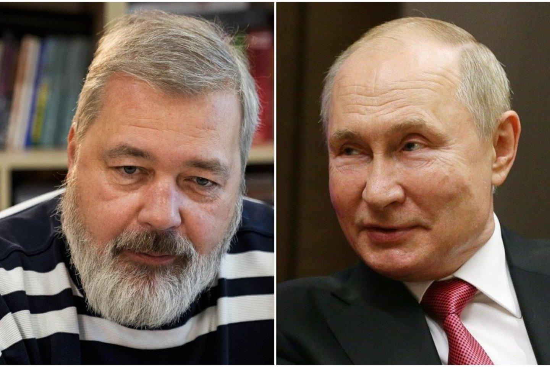 Dmitrijus Muratovas ir Vladimiras Putinas.<br>Lrytas.lt