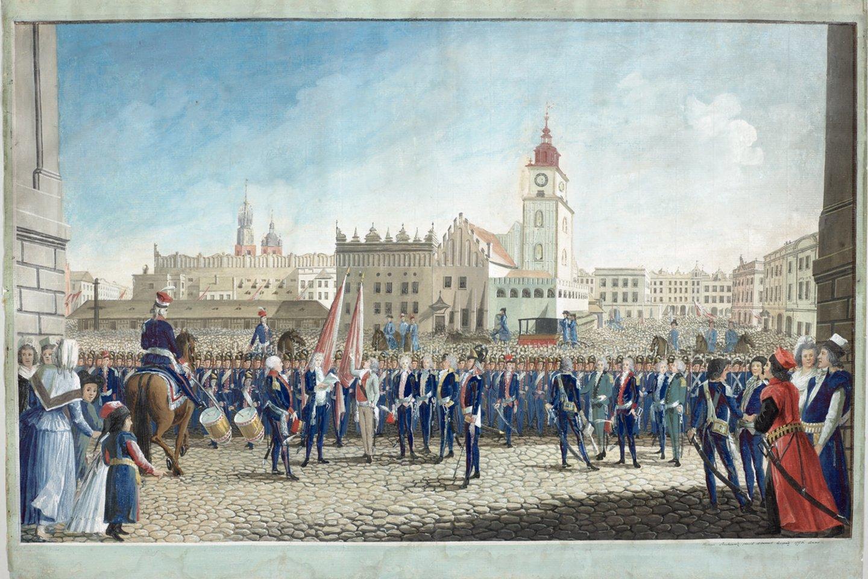 T. Kosciuškos priesaika Krokuvos Turgaus aikštėje, dailininkas M. Stachowicz (Zamek Królewski w Warszawie – Muzeum nuosavybė).<br>Organizatorių nuotr.